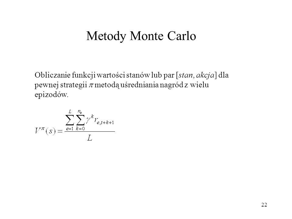 Metody Monte CarloObliczanie funkcji wartości stanów lub par [stan, akcja] dla pewnej strategii  metodą uśredniania nagród z wielu epizodów.